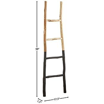 "Stone & Beam Rustic Decorative Blanket Ladder, 59""H, Natural/Black"