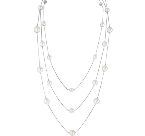 Humble Chic Women's Simulated Pearl Long Layering Necklace Silver-Tone Multistrand Beaded Snake (Designer Costume Jewelry)