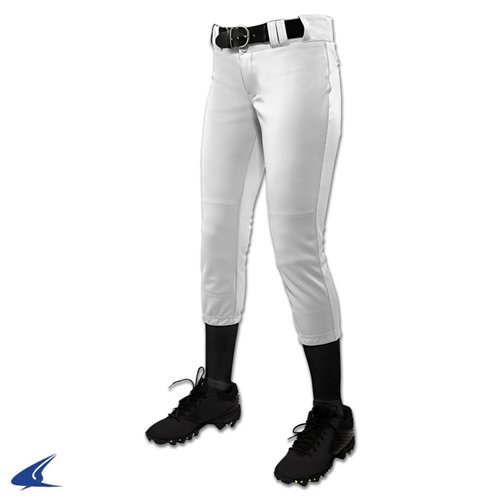 (CHAMPRO Youth Tournament Traditional Low-Rise Polyester Softball Pant, Large, White)