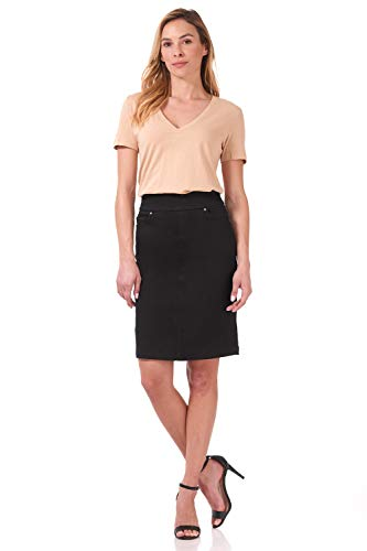 Rekucci Women's Ease into Comfort Chic n' Casual Stretch Jean Skirt