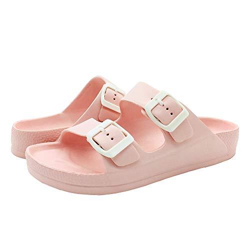 LUFFYMOMO Adjustable Slip on Eva Double Buckle Slides Comfort Footbed Thong Sandals for Womens