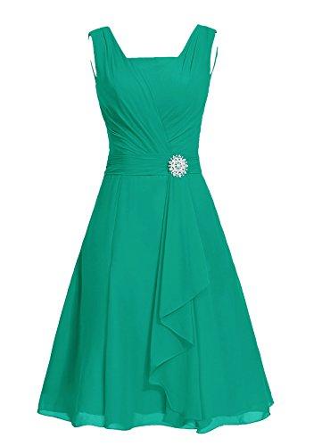 Dresstells®Vestido De Madrina Elegante Corto Sin Mangas De Gasa Para Fiesta Verde