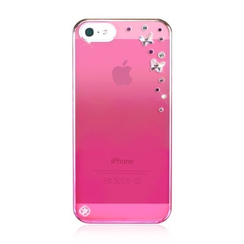 BlingMyThing Butterflies Hardcase mit Swarovski Steinen für Apple iPhone 5 klar/metallic pink/hellrosa