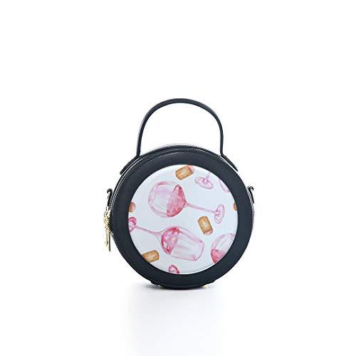 Fashion Microfiber&cowhide Zipper Round Packet Red Wine Cork Retro Design Taste Stylish Color Print One Shoulder Cross-body Bags Handbag Small Round Wallet Circle Purse Clutch