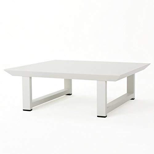 Great Deal Furniture 303976 Bonnie Outdoor White Finish Rust-Proof Aluminum Coffee Table