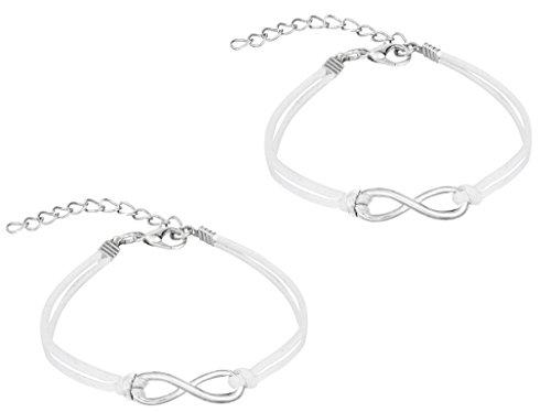Set of 2 Friendship Bracelets, Steel Infinity Symbol Bracelets with Soft White Leatherette Cord