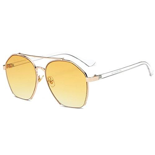 De Sol Gafas Sol De Lens Frame Gray Gold TLMY Personalizadas Gafas Black Color Yellow Metal de Sol Gafas De Lens Frame De Gafas Sol pqEPwd0x