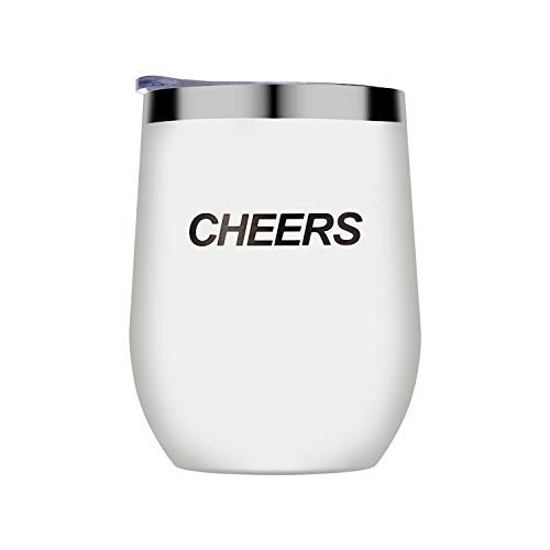 Uncorkd Insulated Wine Glass | 12 oz Stainless Steel Stemless Wine Tumbler with Lid - Perfect for Birthday & Christmas Gift | Family Party Outdoor Drink | Beer Cheers Use | White