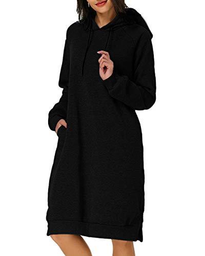 Kidsform Women Autumn Long Sleeve Loose Hoodies Hooded Sweatshirt Fleece Long Dress Black 2XL