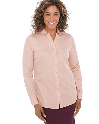 Pant Woven Cotton Crop (Chico's Women's Caroline No-Iron Cotton Sateen Button-Up Shirt Size 4 S (0) Pink)