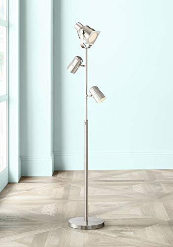 (Nuovo Modern Floor Lamp 3-Light Tree Brushed Nickel Adjustable Heads for Living Room Reading Bedroom Office - Possini Euro Design)
