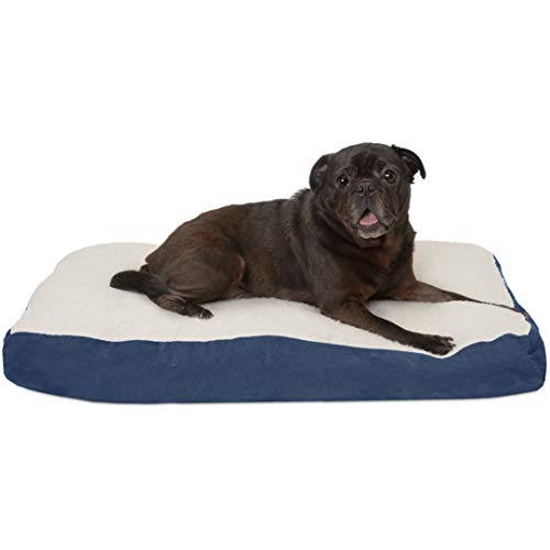 FurHaven Pet Dog Bed | Deluxe Sherpa & Suede Pillow Pet Bed for Dogs & Cats, Navy, Medium