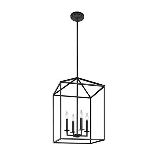Sea Gull Lighting 5115004-839 Perryton Four-Light Hall or Foyer Light Fixture, Blacksmith Finish (Pendant Square Chandelier)