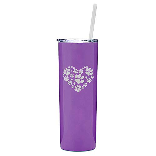 20 oz Skinny Tall Tumbler Stainless Steel Vacuum Insulated Travel Mug With Straw Heart Paw Prints (Purple) (Travel Mug Heart)