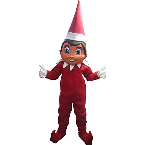 Elf On The Shelf Red Man Santa Helper Mascot Costume Party Character Christmas -
