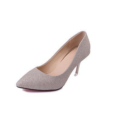 pulg Club FYios CN39 zapatos 3 Stiletto verano EU39 noche vestidos 4 amp;Amp; de talón 4 Club US8 UK6 Plata 4A mujer La Tacones PU primavera Zapatos Oro FqrBFI