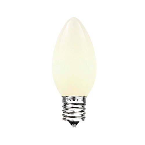 Novelty Lights, Inc. C9-7C-WH Ceramic Outdoor Patio Party Christmas Replacement Bulbs, White, 25 Pack