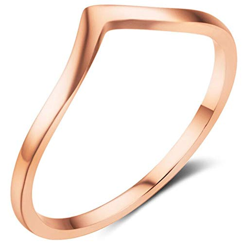 - Jude Jewelers Stainless Steel Pointed Chevron Classical Simple Plain Statement Promise Ring (Rose Gold, 7)
