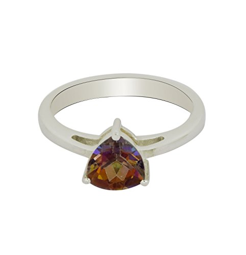 Shine Jewel Trillion Fire Mystic Topaz Gemstone 925 Sterling Silver Ring
