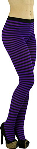 ToBeInStyle Womens Colorful Opaque Striped Tights Pantyhose Stocking Hosiery - Black/Purple - One Size -
