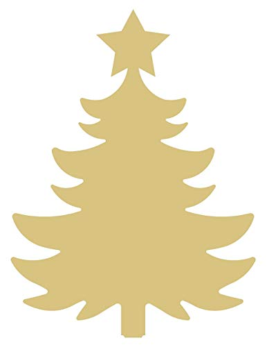 Tree Cutout Unfinished Wood Christmas Tree with Star Holiday Door Hanger MDF Shape Canvas Style -