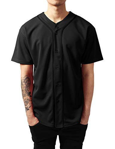 Ma Croix Mens Premium Baseball Jersey Active Button Shirt Team Uniform (2X-Large, 1up01_Black/Black)
