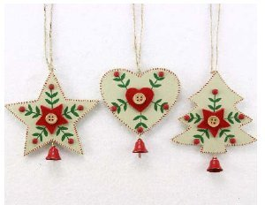 gisela graham large wooden tree heart and star christmas tree decorations with bells - Large Wooden Christmas Decorations