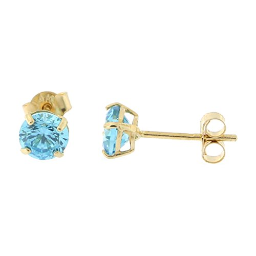 14k Yellow Gold 4mm .5tcw Round Basket Set Simulated Blue Topaz ()