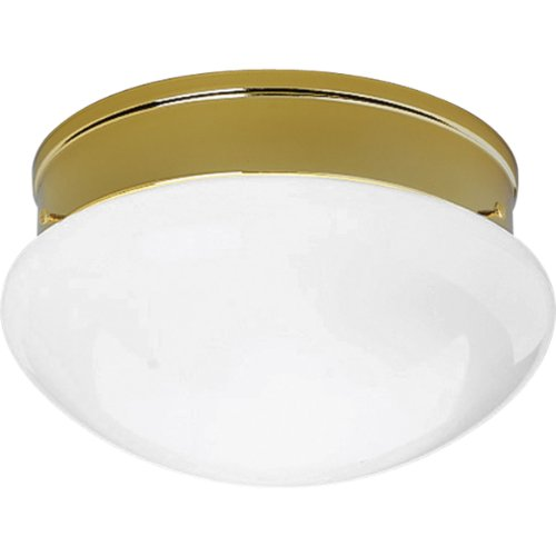 Progress Lighting P3412-10 White Glass Fitter with Thumb Screws, Polished Brass