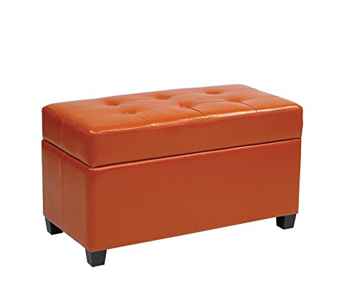 Office Star Metro Vinyl Storage Ottoman with Espresso Finish Legs, Orange