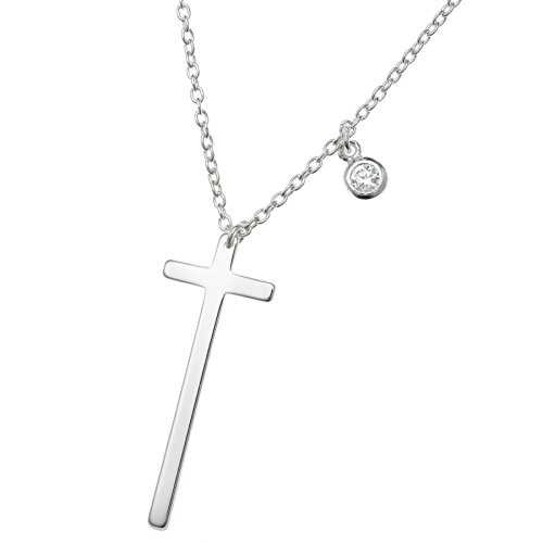925 Sterling Silver Faith Christian Cross Clear Cz Crystal Dangle Charm Chain Necklace 16+1 Inches