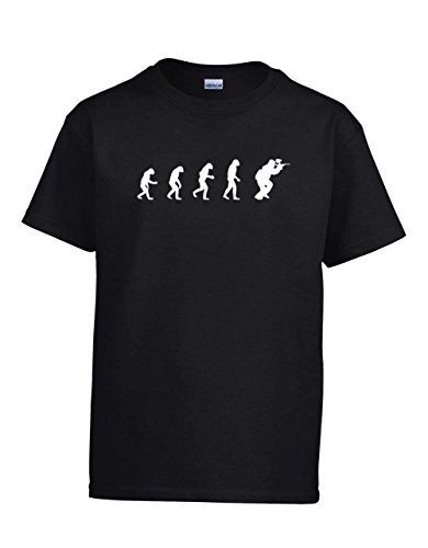 tion Of Man To Paintball Player Youth T-Shirt, Black Extra Large (Evolution Black Semi Automatic)