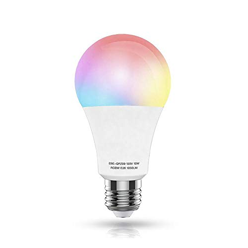 Cheap WiFi Smart LED Light Bulb,10W(100W Equivalent)(White 60W) E26 Warm White+RGB Dimmable Multicolored Light Bulb, Free APP Remote Controlled,No Hub Required,Compatible with Alexa and Google Home