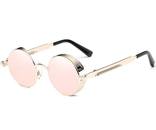 Joopin-Round Retro Polaroid Sunglasses Driving Polarized Glasses Men Steampunk (Pink Retro, as the - Retro Punk Clothes