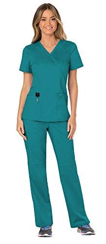 Cherokee Workwear Revolution Women's Medical Uniforms Scrubs Set Bundle - WW610 Mock Wrap Scrub Top & WW110 Pull On Scrub Pants & MS Badge Reel (Teal Blue - Large/Medium) ()
