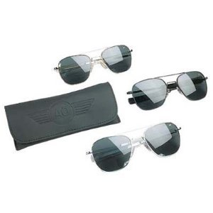 AO Original Pilot 57mm Black Frame with Bayonet Temples and True Color Gray Glass Lens