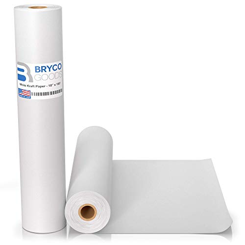 White Kraft Arts and Crafts Paper Roll – 18 inches by 100 Feet (1200 Inch) – Ideal for Paints, Wall Art, Easel Paper…