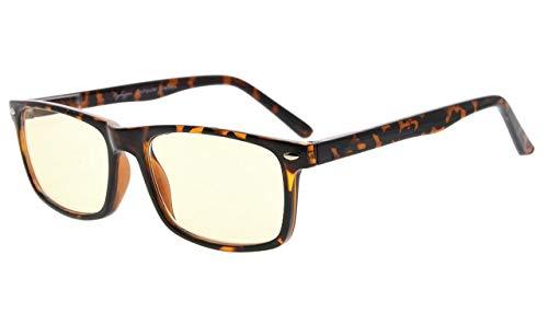 Eyekepper Readers UV Protection, Anti Glare Eyeglasses,Anti Blue Rays, Spring Hinges Computer Eyeglasses (Tortoiseshell, Yellow Tinted ()