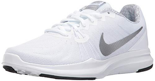 - Nike Women's in-Season Trainer 7 Cross Training Shoes (9.5 M US, White/Metallic Silver)