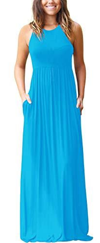 GRECERELLE Women's Sleeveless Racerback Loose Plain Maxi Dresses Casual Long Dresses with Pockets Nile Blue-L from GRECERELLE