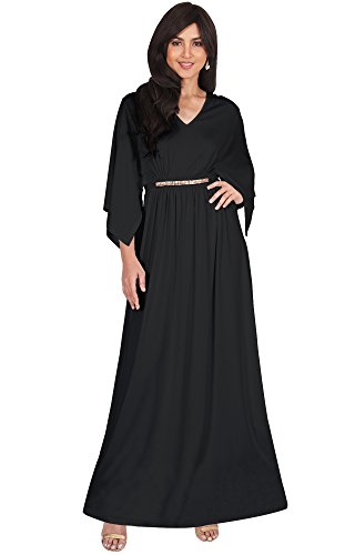 KOH KOH Plus Size Womens Long V-Neck Half Batwing Dolman Sleeve Evening Cocktail Flowy Empire Waist Bridesmaid Formal Kaftan Wedding Guest Gown Gowns Maxi Dress Dresses, Black XL 14-16