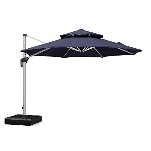 (PURPLE LEAF 11 Feet Double Top Round Deluxe Patio Umbrella Offset Hanging Umbrella Outdoor Market Umbrella Garden Umbrella, Navy)