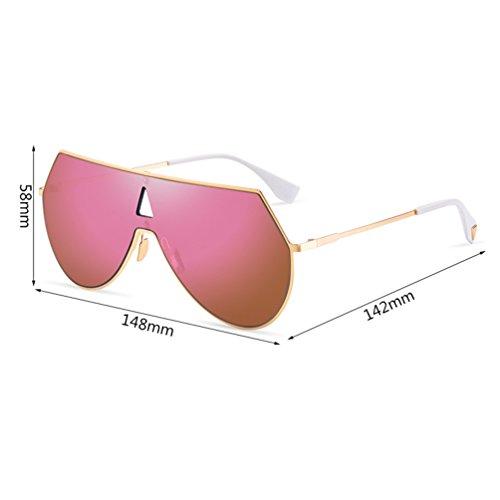 New Hombres Frame sol de Pink los Personalidad Shot Unidos Gafas Europa One Cool y Estados Ladies HL Sunglasses Reflective Street f1Fnq