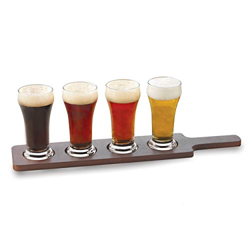 (Libbey Craft Brews Beer Flight Glass Set with Wood Carrier, 4 Glasses)