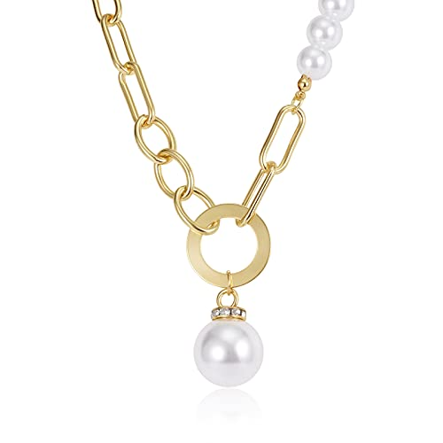 CHANBO 14k Gold Fashion Necklaces For Women Vintage Large Handmade Pearl Chain Inlaid Pendant Chain Necklaces Vintage Charm Valentine's Day Women's Necklaces Jewelry