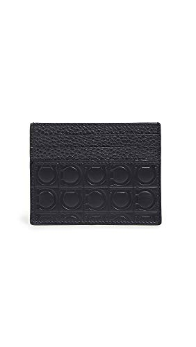 Salvatore Ferragamo Men's Firenze Gamma Card Case, Nero Pebble, Black, One Size - Firenze Card Case