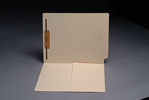 Smead 34100 Match 11 pt Manila Folders, Full Cut End Tab, Letter Size, 1/2 Pocket Inside Front, Fastener Pos #1 (Box of 50) by Ecom Folders