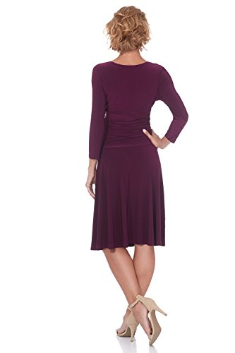 Tummy Rekucci Slimming Dress and Fit Women's Wine Control Crossover 4 Flare 3 Sleeve rrqzPxO