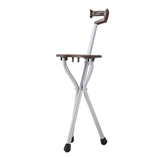 Chairs Folding Back Cane - Bathroom Stool Walking Stick Chair Walker Elderly Three-Legged Sitting Cane Cane Stool Cane Chair Cane Chair Folding Cane Stool Step Stool (Color : Brown, Size : 352177cm)