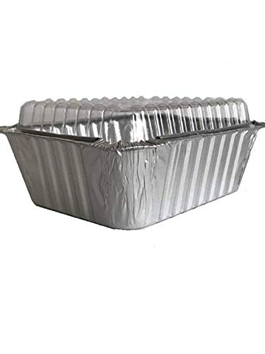 - Aluminum Foil Mini Loaf pan with Clear Lid - 5 x 4 inch; 1 lb Capacity Disposable Takeout, Food Containers, Bake, Serve, Store & Freeze in the same pan - Made in USA (Pack of 50)